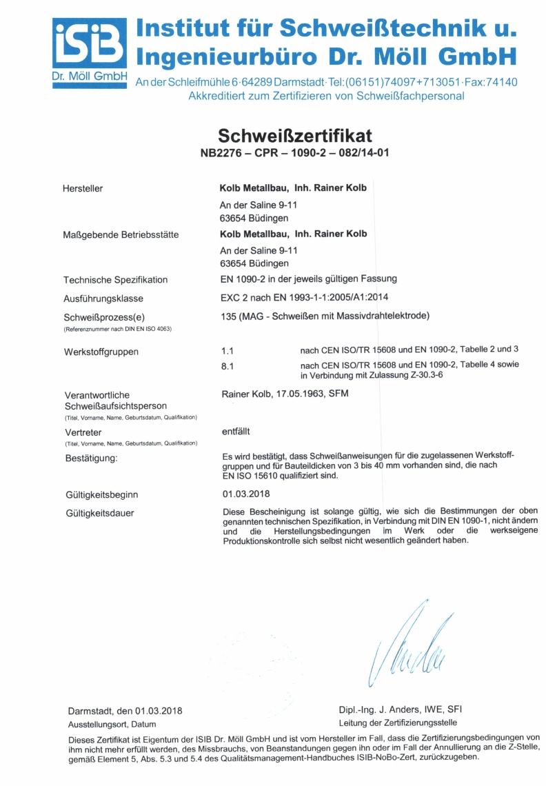 Zertifikat Kolb Metallbau
