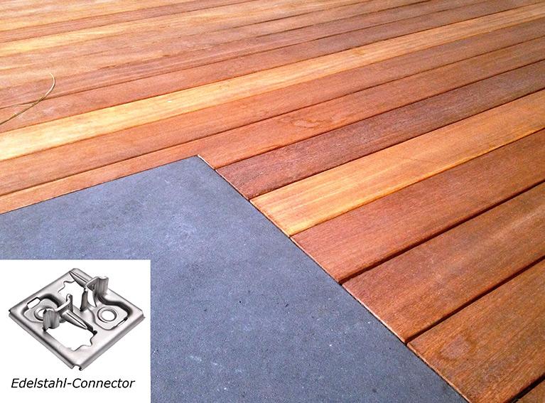 Balkon Holzfußboden ohne sichtbare Verschraubung